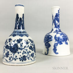 Two Blue and White Mallet Vases