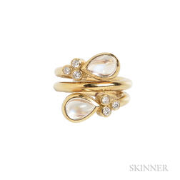 18kt Gold, Moonstone, and Diamond Ring, Temple St. Clair