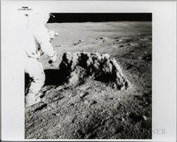 Apollo 14, Alan Shepard Beside a Large Boulder.