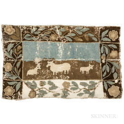 Yarn Sewn Mat with Animals and Flowers
