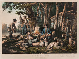 Currier & Ives Lithograph CAMPING OUT.