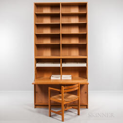 Borge Mogensen for Karl Andersson & Soner Øresund Oak Cabinet, Drop-front Desk, Bookshelves, and Asserbo Chair