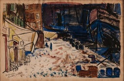 Vincent Korda (Hungarian, 1897-1979)    Two Views of Marseilles: Outdoor Market
