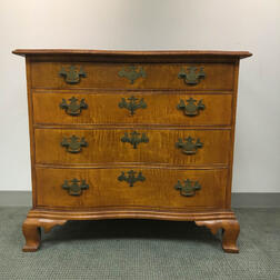 Eldred Wheeler Chippendale-style Tiger Maple Serpentine Chest of Drawers