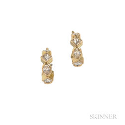 18kt Gold and Diamond Hoop Earrings, Temple St. Clair