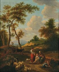 French School, 18th Century      Herders at Rest in a Landscape