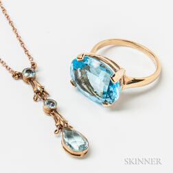 14kt Gold and Blue Topaz Ring and 14kt Gold Aquamarine Lavalier