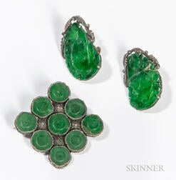Three Jadeite/Silver Accessories