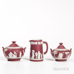 Three Wedgwood Crimson Jasper Dip Items