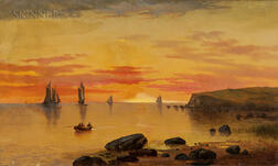 Charles Day Hunt (American, 1840-1914)      Sunset Coastal Scene