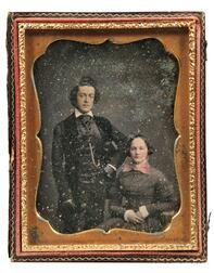 Studio of Mathew Brady (active c. 1844-1860s)      Hand-tinted Quarter-plate Daguerreotype of Mr. and Mrs. David Nichols, Jr.