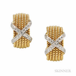 """18kt Gold and Diamond """"Rope"""" Earclips, Schlumberger, Tiffany & Co."""