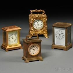 Four Small Thirty-hour Carriage Clocks