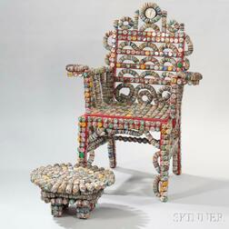 Rick Ladd Bottle Cap Chair and Footstool