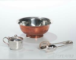 Dominick & Haff Tongs and Mustard Pot and a Geblein Bowl