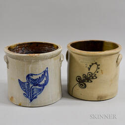 Two Cobalt Floral-decorated Stoneware Two-gallon Crocks