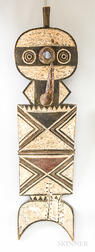 African Polychrome Carved Wood Mask.