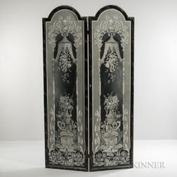 Two-panel Grisaille Painted Screen