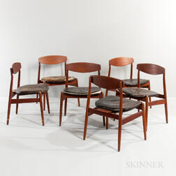 Six Hans Wegner Teak Side Chairs