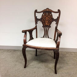 Edwardian Carved Mahogany Marquetry Armchair