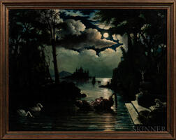 Continental School, 19th Century      Lovers on a Moonlit Lake