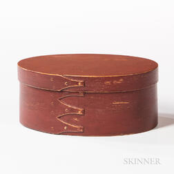 Red-painted Oval Pantry Box