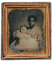 American School, 19th Century      Sixth-plate Ambrotype of Effie Daunis with Her African American Nurse, Thibodaux,   Louisiana