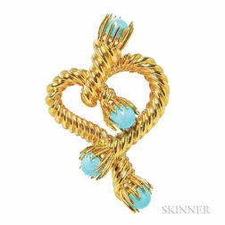 "18kt Gold and Turquoise ""Heart Clip"" Brooch, Schlumberger Studios for Tiffany & Co."