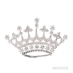 18kt White Gold and Diamond Crown Pendant/Brooch