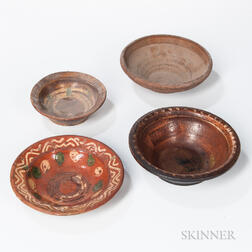 Four Small Redware Bowls