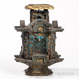 Ornate Wood Lantern with Kingfisher Feather