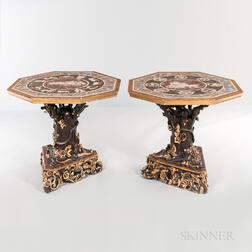 Pair of Grotto-style Carved and Painted Center Tables