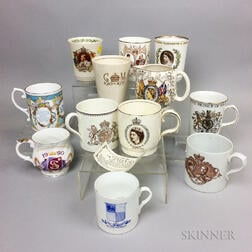 Twelve British Royal Commemorative Porcelain Cups.     Estimate $20-200