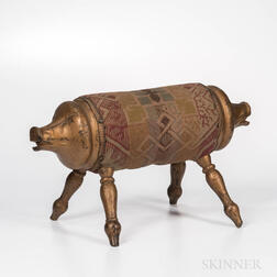 Gold-painted Pig Footstool
