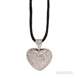 14kt White Gold and Diamond Heart Pendant