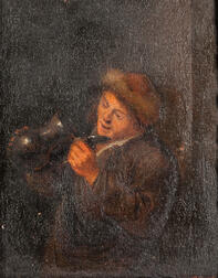 Dutch School, 17th Century      Man in a Fur-lined Cap Peering into an Empty Tankard