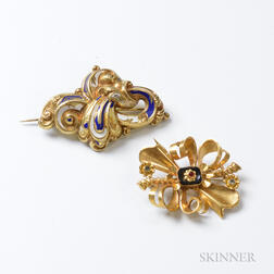 Two Antique 14kt Gold Brooches