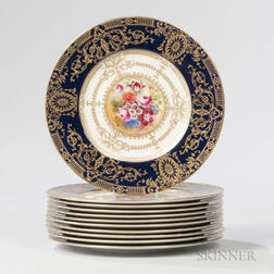 Eleven Royal Worcester Hand-painted Bone China Service Plates