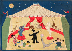 Appliqued and Embroidered Circus Scene