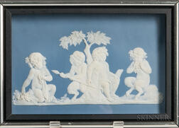 Wedgwood Solid Light Blue Jasper Plaque of Bacchanalian Boys