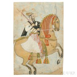 Miniature Painting of a Man on a Horse