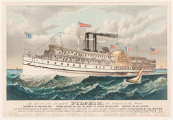 """The Grand New Steamboat Pilgrim, the Largest in the World"" Lithograph"