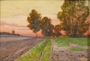 Attributed to Hermann (Max Daniel) Fritz (German, 1873-1948)      The Path by the Field, Sunset