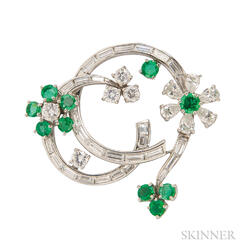 Platinum, Emerald, and Diamond Brooch
