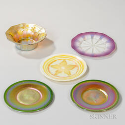 Tiffany Favrile Decorated Bowl and Four Plates