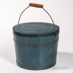 Blue-painted Covered Pail