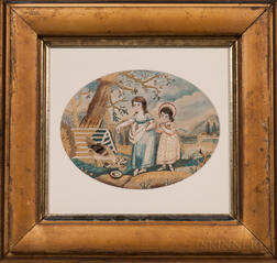 Needlework and Watercolor Picture of Two Girls Feeding Chickens