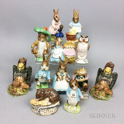 Twelve Mostly Beswick Pottery Character Figures