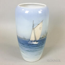 Royal Copenhagen Porcelain Vase Depicting Sailboats