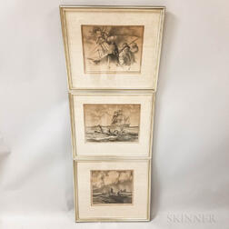 Three Framed Gordon Grant Maritime Lithographs
